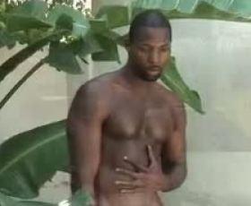 Hot ebony gay masturbating outdoor