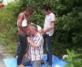 Matured gay sucks three exotic dudes